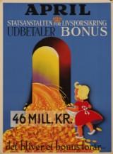 Plakat, 'Statsanstalten for Livsforsikring udbetaler Bonus', litografi, 1952