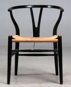 hans j wegner y stol sort. Black Bedroom Furniture Sets. Home Design Ideas