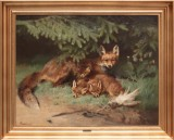 Adolf Heinrich Mackeprang. Family of foxes