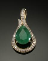 Smaragd- og diamant vedhæng