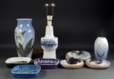 Kgl. P, B&G mfl. Samling askebægre, vaser mm. (9)