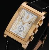 Bvlgari 'Rettangolo'. Men's chronograph, 18 kt. gold, certificate 2013