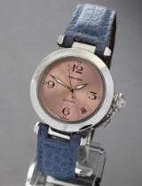 Cartier 'Pasha'. Dameur i stål med rosafarvet skive og dato