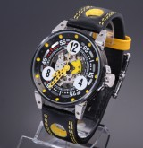 B.R.M. 'Record'. Men's watch, PVD-treated steel with skeleton dial, c. 2012