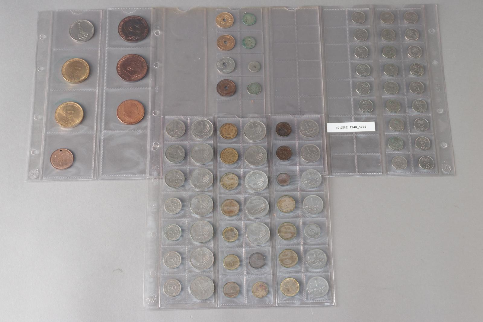 Diverse mønter - Diverse mønter bestående af: Tysk samling med 5 pfennig 1874. 4 fejlslåede danske mønter, 4 kærestemønter, diverse 10-ører inkl 1959