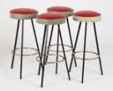 Fire barstole, metal/læder (4)