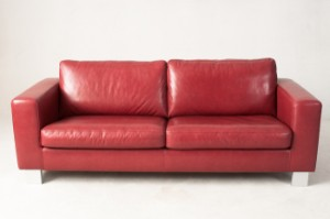 slutpris f r 3 sitzer sofa panhard roter lederbezug. Black Bedroom Furniture Sets. Home Design Ideas