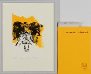 Frans Kannik, litografisk trykt særudgivelse samt signeret forlæg til indvendig vignet, 120 Dage i Sodoma af Marquis D.A.F. de Sade. cd. (2) - Dk, Herlev, Dynamovej - Litografisk særudgave af Marquis D.A.F. de Sades '120 Dage i Sodoma' samt originalt forlæg til vignet på s. 81, illustreret af Frans Kannik (1949-2011). Udgivet i 1998, bog ombundet i gult Viking Gummi, indvendigt sign. Frans Ka - Dk, Herlev, Dynamovej