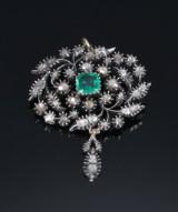 Emerald and diamond broche/pendant, gold and silver, 19th century