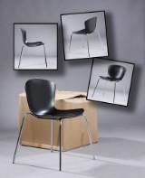 Fire stole med formstøbt sort plastskal