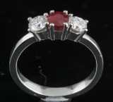 Diamond and ruby ring in 18kt approx. 0.67ct<br>