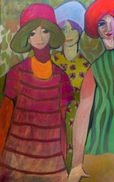 Helga Radener-Blaschke, oil on canvas, 'Drei Frauen'