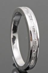 Platinum brilliant and baguette-cut diamond wedding ring approx. 0.24ct