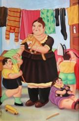 Ubekendt cubansk kunstner. Figurkomposition, olie på lærred, 2007