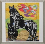 Li Fuyuan. Ink on paper, compostion with horse and foal