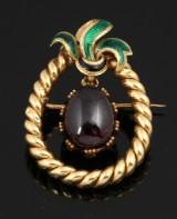 French garnet and enamel brooch, gold, 19th century