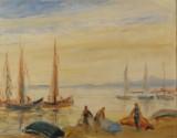 Erwin Exner, oliemaleri 'Segelboote und Badende'