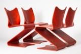 Verner Panton, S-stol, 4 stole/frisvingere, model 275, røde, Thonet (4)