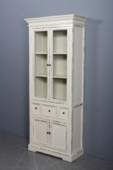 Glass cabinet, off-white antiqued paint