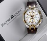 Maurice Lacroix 'Aikon Chronograph'. Herrenuhr aus teilweise vergoldetem Stahl mit weißem Zifferblatt - Box + Zert. 2018
