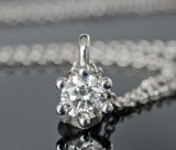 Solitaire diamond pendant, approx. 0.31 ct., with gold chain