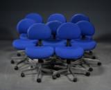 Labofa, otte kontorstole med blå uld (8)