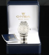 Onsa automatic stainless steel watch with box and papers