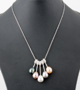 Fresh water pearl necklace with cubic zirkonia