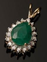 Hänge, 9 kt guld med smaragd och diamanter