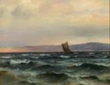 C.F. Sørensen. Oil on canvas. Sailing ship off the coast
