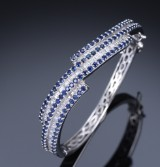 French diamond and sapphire bracelet, 18 kt. white gold, diamaonds total approx. 3.40 ct