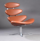 Poul M. Volther, lounge chair, model EJ 5, 'Corona', leather