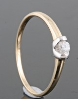 Diamond ring in gold approx. 0.15ct