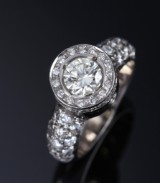 Diamond ring, 18 kt. white gold, total 1.66 ct
