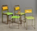 12 chairs, sheet metal and wrought iron, 1960's-1970's. Stackable (12)
