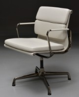 Charles Eames. Soft Pad armchair, model EA-208 - 'Full Leather', special edition 'Dark Chrome'