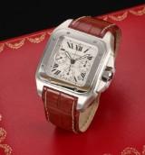 Cartier 'Santos 100'. Herrechronograf i stål med lys skive, certifikat 2008