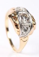 Vintage diamantring, 14 kt guld. Brillanter ca.1.00 ct