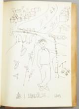 Ardy Strüvers gästbok med teckning av bl.a. Slas