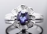 Safir, diamant og brillantring, 18 kt. hvidguld