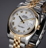 Rolex 'Datejust'. Men's watch, 18 kt. gold and steel, with white dial - box + certifcate 2005