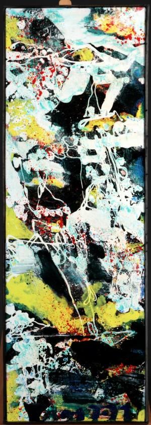 Peter Nyborg. Abstrakt komposition - Dk, Helsingør, Støberivej - Peter Nyborg, født 1937. Abstrakt komposition betitlet 'Ireland de Wind', olie på lærred. Sign., dateret samt betitlet verso Peter Nyborg 2018. 132 x 44,5 (133,5 x 47) cm. - Dk, Helsingør, Støberivej