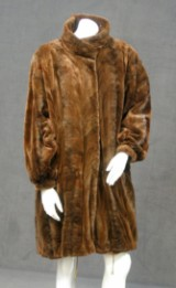 Overcoat, multi-coloured, leather / mink trims, size 42
