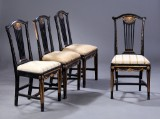 Four Danish Louis XVI chairs, black-varnished and gilt wood, 18th century (4)
