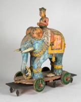 Indian procession elephant, carved figure, wood