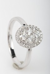 Diamond ring, 14 kt. rhodium-plated gold, approx. 0.58 ct.