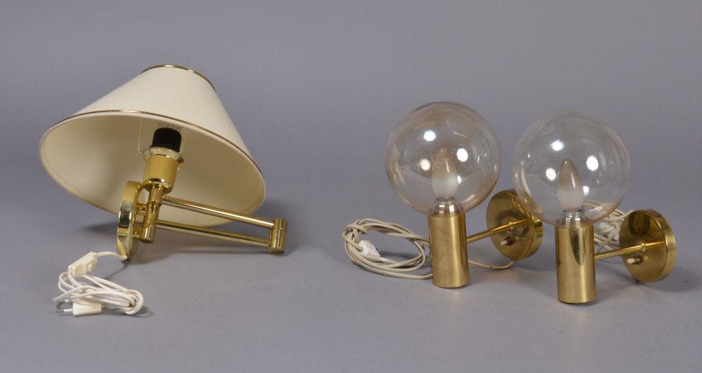 Væglamper, messing, to stk. fra mrk. Laoni Belysning, 1900