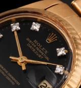 Rolex Datejust. Vintage ladies watch, 18 kt. gold with diamonds, c. 1979