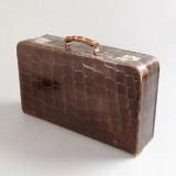 Toiletteväska, i brunt krokodilskinn