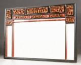 Großer chinesischer Wandspiegel mit aufwändiger Schnitzerei
